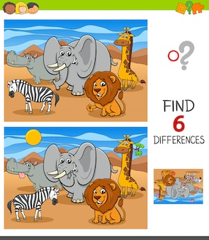 Gioco di differenze con personaggi animali africani
