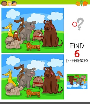 Gioco di differenze con personaggi animali cani