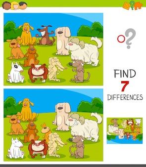 Gioco di differenze con personaggi di cani