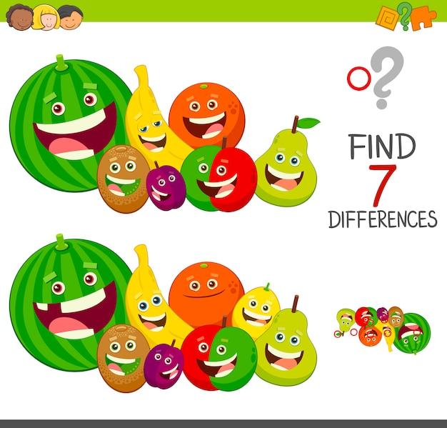 Gioco di differenze con personaggi di frutta