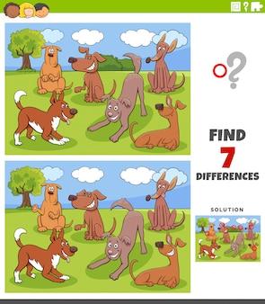 Gioco di differenze con un gruppo di personaggi di cani