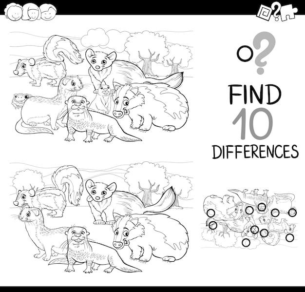 Gioco di differenze di animali selvatici