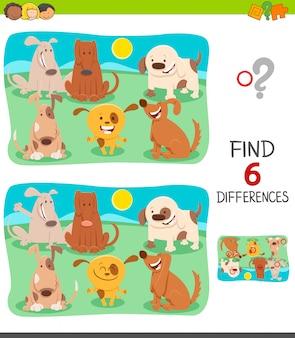 Gioco di differenze per bambini con cani felici