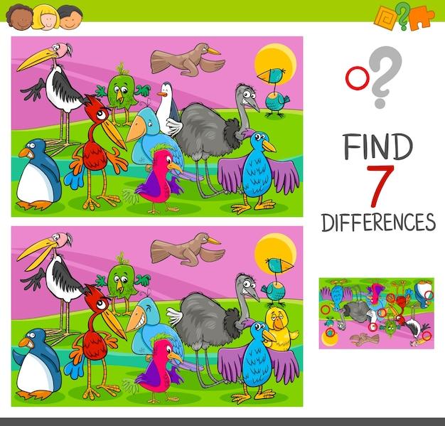 Gioco di differenze spot con personaggi di uccelli