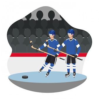 Gioco di giocatori di hockey