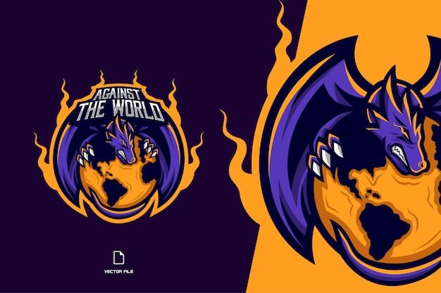 Gioco di logo mascotte drago viola per lo sport e l'illustrazione della squadra di esport