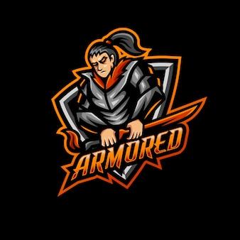 Gioco di logo mascotte samurai