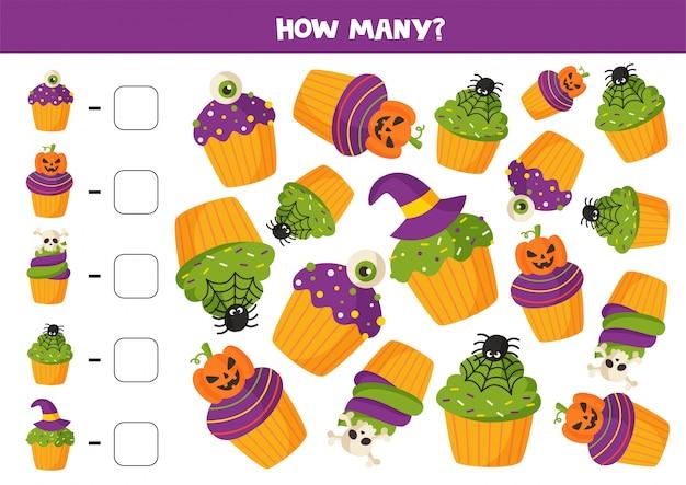 Gioco di matematica con muffin di halloween simpatici cartoni animati.