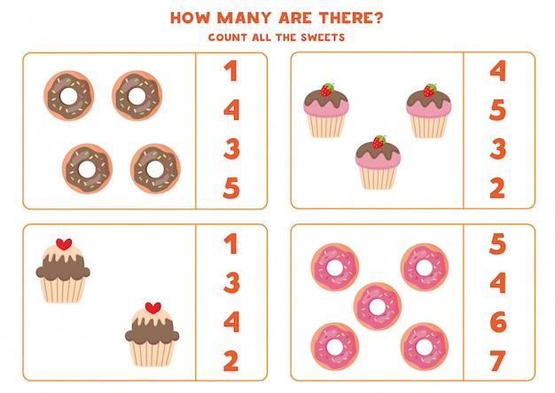 Gioco di matematica educativo per bambini. conta ciambelle e cupcakes.