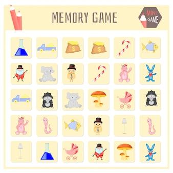 Gioco di memoria per bambini, grafica di mappe animali
