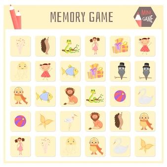 Gioco di memoria per bambini, grafica vettoriale di mappe animali