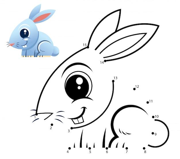 Gioco di numeri educativi. gioco punto per punto. cartone animato coniglio