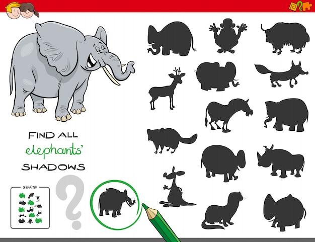 Gioco di ombre con personaggi di elefanti