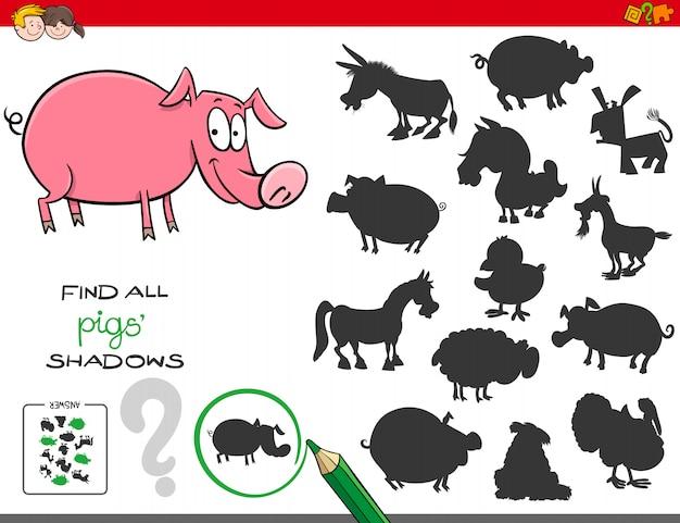Gioco di ombre con personaggi di maiali