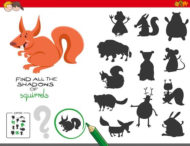 Gioco di ombre educative con scoiattoli