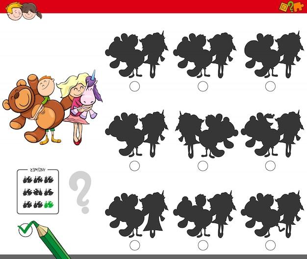 Gioco di ombre educativo con bambini e giocattoli