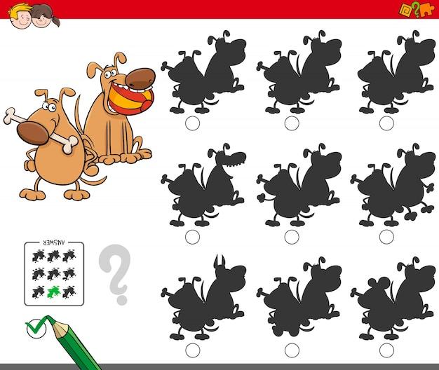 Gioco di ombre educativo con personaggi di cani