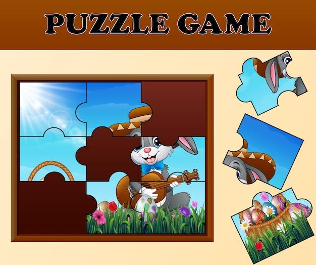 Gioco di puzzle con coniglietti pasquali felici