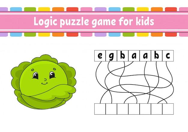 Gioco di puzzle di logica. imparare parole per bambini. cavolo vegetale trova il nome nascosto.