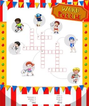 Gioco di puzzle di parole con molti sport