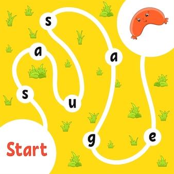 Gioco di puzzle logico. imparare le parole per i bambini. trova il nome nascosto.