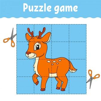 Gioco di puzzle per bambini. foglio di lavoro per lo sviluppo dell'istruzione. gioco di apprendimento per bambini. pagina delle attività. per il bambino.