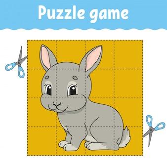 Gioco di puzzle per bambini. foglio di lavoro per lo sviluppo dell'istruzione.