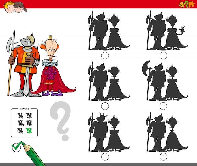 Gioco di silhouette educativo con re e cavaliere