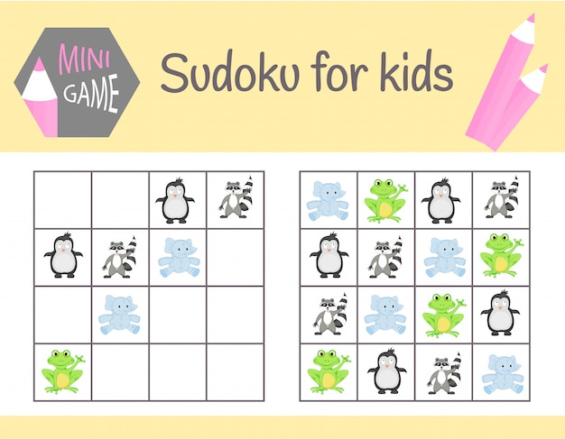 Gioco di sudoku per bambini con foto e animali