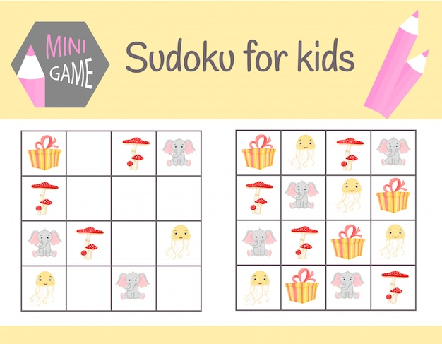 Gioco di sudoku per bambini con foto e animali.