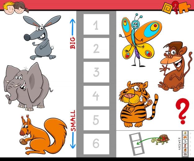 Gioco educativo con personaggi animali grandi e piccoli