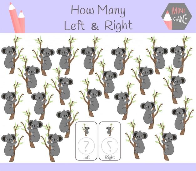 Gioco educativo di conteggio di immagini orientate a destra e a sinistra per bambini con kuala