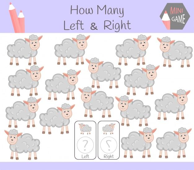 Gioco educativo di conteggio di immagini orientate a destra e a sinistra per bambini con pecore