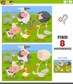 Gioco educativo di differenze con animali da fattoria dei cartoni animati