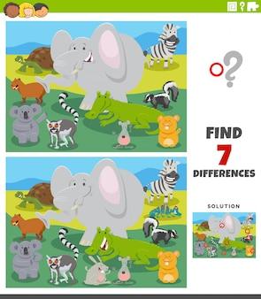 Gioco educativo di differenze con animali selvatici dei cartoni animati