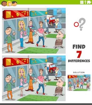 Gioco educativo di differenze con il gruppo di persone dei cartoni animati