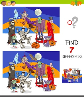 Gioco educativo di differenze con personaggi di halloween