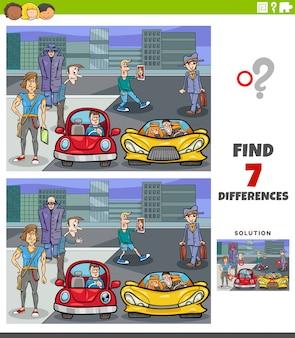 Gioco educativo di differenze con persone e città dei cartoni animati