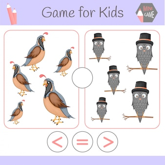 Gioco educativo di logica per bambini in età prescolare. robot divertenti del fumetto. scegli la risposta corretta. maggiore di, minore di o uguale a