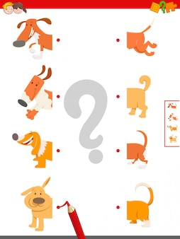 Gioco educativo di matching halves of dogs