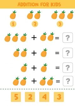 Gioco educativo di matematica per bambini con ananas per bambini.