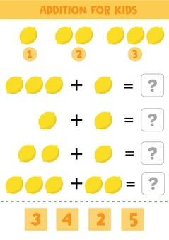 Gioco educativo di matematica per bambini con limoni per bambini.