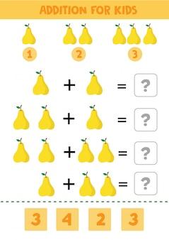 Gioco educativo di matematica per bambini con pere per bambini.