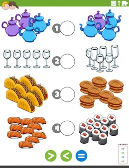 Gioco educativo minore o uguale con oggetti alimentari