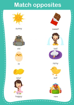 Gioco educativo per bambini abbinato. partita di opposites.vector illustrazione