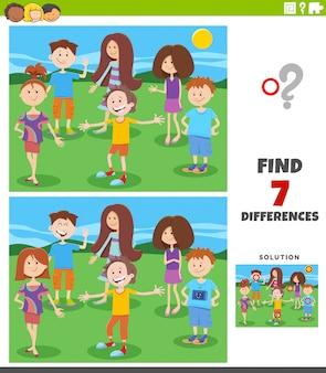 Gioco educativo sulle differenze con i bambini dei cartoni animati