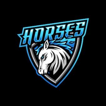 Gioco esport del logo della mascotte del cavallo