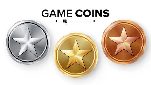 Gioco monete d'oro, d'argento, di bronzo