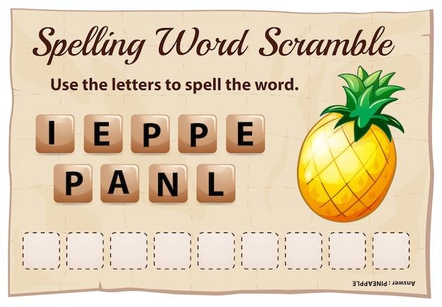 Gioco ortografico di parola scrable con ananas di parola