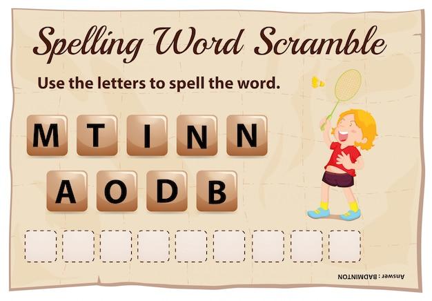 Gioco ortografico di parole strapazzate con badminton di parole